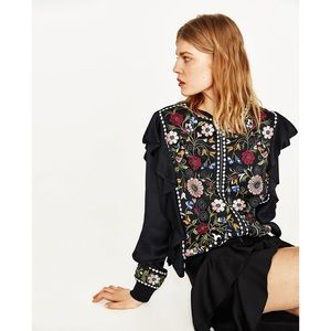 Zara Woman Embroidered Ruffle Black Satin Bomber